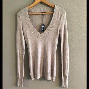 NWT Express Oatmeal/Beige V Neck Sweater